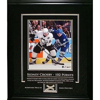 Sidney Crosby, toile encadrée avec morceau de filet utilisé en partie, 102e point