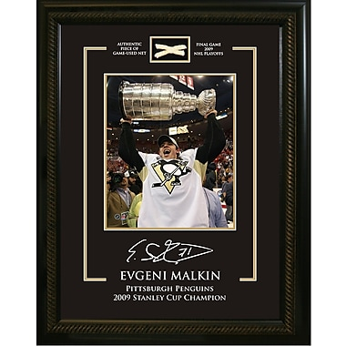 Evgeni Malkin Framed Photo, Etched Signature, and Piece of Game Used Net from the Penguins 2009 Stanley Cup