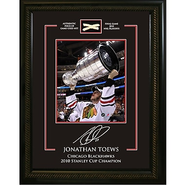 Jonathan Toews Framed Photo, with Etched Signature and Piece of Game Used Net from the 2010 Stanley Cup