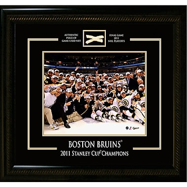 Boston Bruins Framed photo, with Piece of Game Used Net from the 2011 Stanley Cup