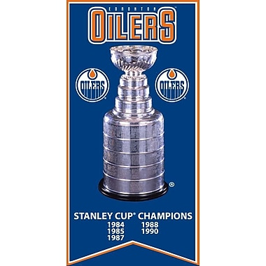 Edmonton Oilers Stanley Cup Banner Canvas, with Cup Photo