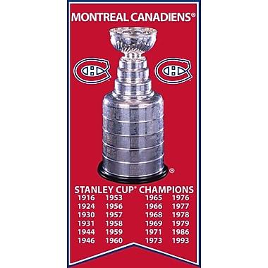 Bannière coupe Stanley des Canadiens de Montréal, toile avec photo de la coupe