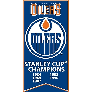 Edmonton Oilers Stanley Cup Banner Canvas, with Team Logo