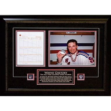 Wayne Gretzky, toile encadrée, Rangers de New York, dernière feuille de pointage de ses buts dans la LNH