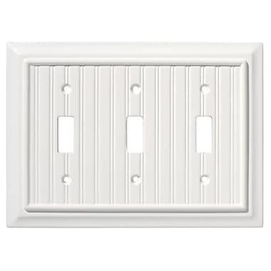 Brainerd® Beadboard Triple Switch Wall Plate, White, 2/Pack