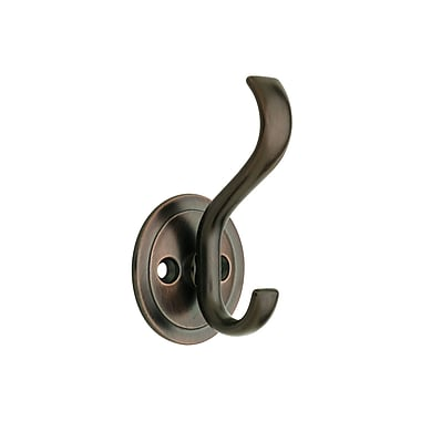 Brainerd® Coat and Hat Hook With Round Base, Venetian Bronze, 3/Pack