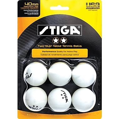 Two Star Table Tennis Balls, White, 6/Pack