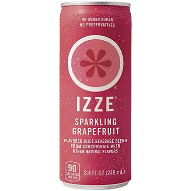 Izze All Natural Sparkling Juice, Grapefruit, 8.4 oz. Can, 24/Pack