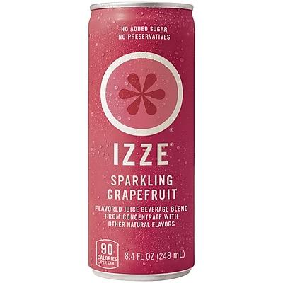 Izze All Natural Sparkling Juice, Grapefruit, 8.4 oz. Can, 24/Pack