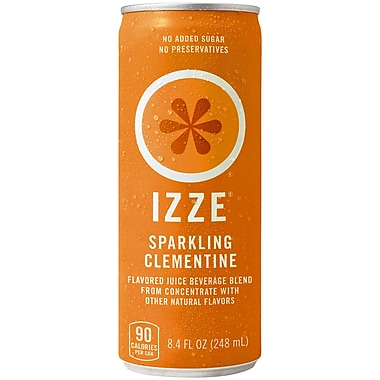 Izze All Natural Sparkling Juice, Clementine, 8.4 oz. Can, 18/Pack