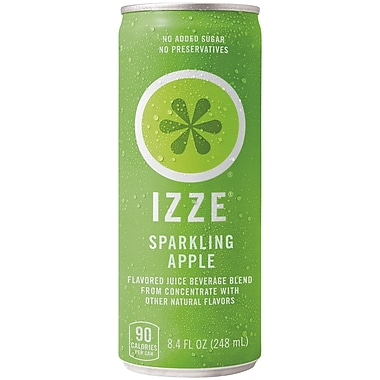 Izze All Natural Sparkling Juice, Apple, 8.4 oz. Can, 18/Pack