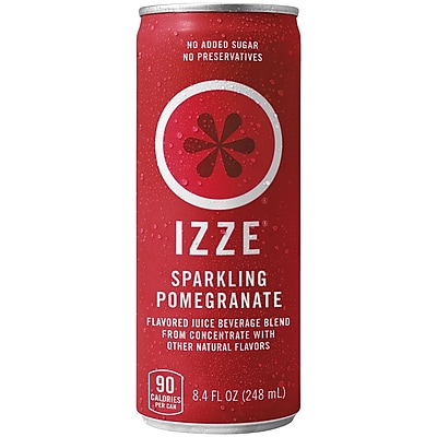 Izze All Natural Sparkling Juice, Pomegranate, 8.4 oz. Can, 24/Pack