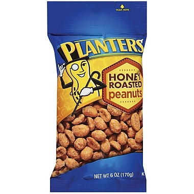Planters Honey Roasted Peanuts, 6 oz. Peg Bag, 12/Pack