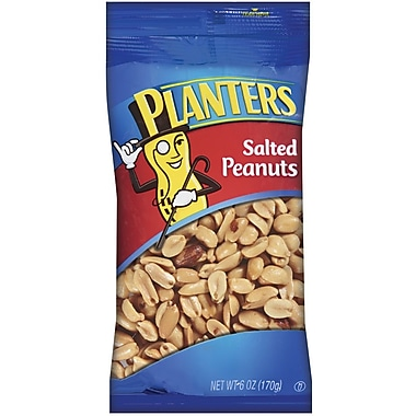 Planters Salted Peanuts, 6 oz. Peg Bag, 12/Pack