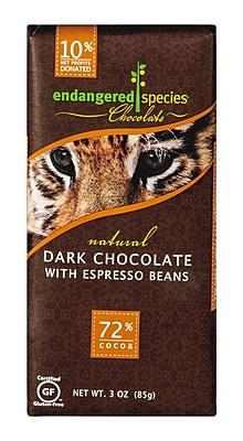 endangered species 3 oz. All-Natural 72% Cocoa Dark Chocolate With Espresso Beans, Tiger, 12/Pack