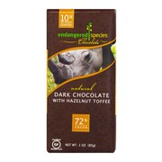 endangered species 3 oz. All-Natural Dark Chocolate With Hazelnut Toffee, Black Rhino, 12/Pack