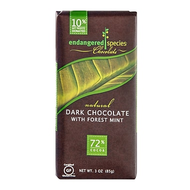 endangered species 3 oz. All-Natural Dark Chocolate With Deep Forest Mint, Rain Forest, 12/Pack