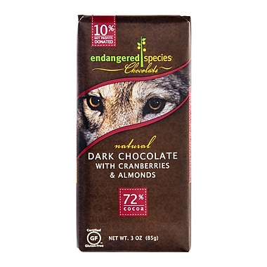 endangered species 3 oz. All-Natural Dark Chocolate With Cranberries And Almonds, Wolf, 12/Pack