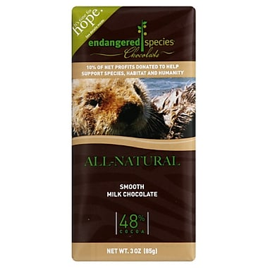 endangered species 3 oz. All-Natural 48% Cocoa Smooth Milk Chocolate, Otter, 12/Pack