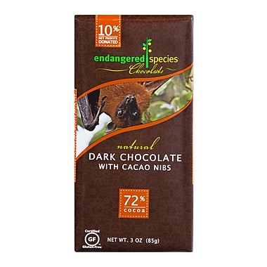 endangered species 3 oz. All-Natural 72% Cocoa Dark Chocolate With Cacao Nibs, Bat, 12/Pack