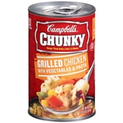 Campbells Chunky Grilled Chicken With Vegetables and Pasta, 18.6 oz. Can, 8/Pack