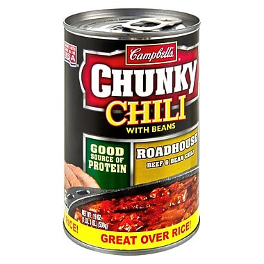 Campbells Chunky Roadhouse Chili With Beans, 19 oz. Can, 8/Pack