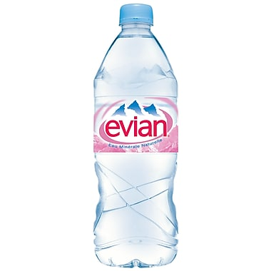 Evian Natural Spring Water, 1 Liter Bottle, 24/Pack