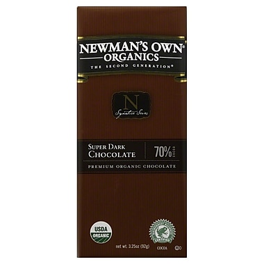 Newmans Own Organic Super Dark Chocolate Bars, 3.25 oz. Bars, 12/Pack