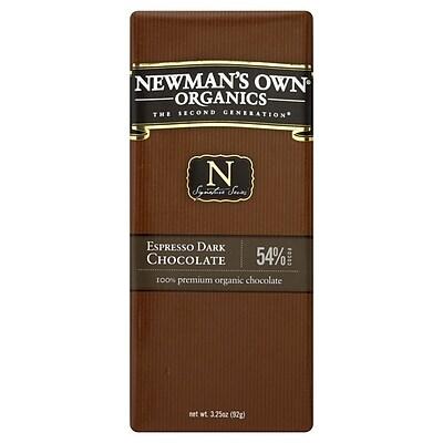 Newmans Own Organic Espresso Dark Chocolate Bars, 3.25 oz. Bars, 12/Pack 306866
