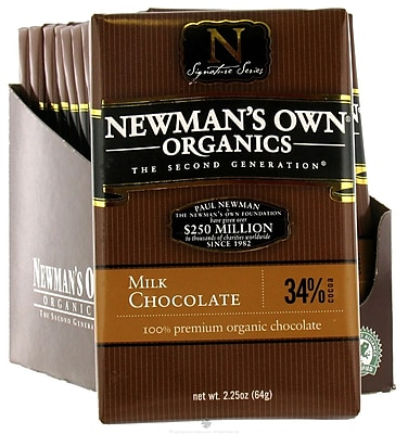 Newmans Own Premium Milk Chocolate Bars, 3.25 oz. Bars, 12/Pack