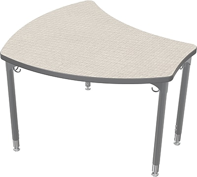 Balt Platinum Legs/Edgeband Large Shapes Desk Without Book Box, Gray Mesh