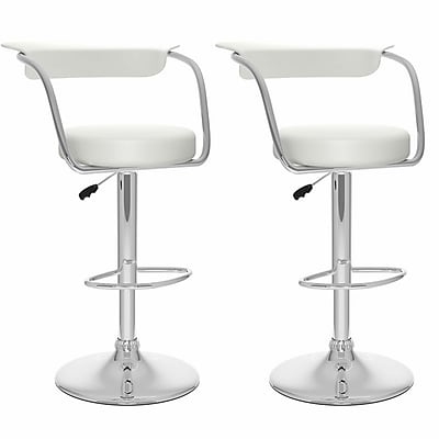 Sonax Not available 41.75'' Contemporary Adjustable Height Faux Leather Bar Stool, White (B-117-UPD)