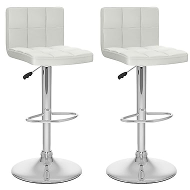Sonax™ CorLiving™ Leatherette High Back Adjustable Barstools, White
