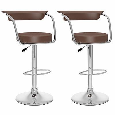 CorLiving™ Leatherette Open Back Adjustable Barstools, Brown