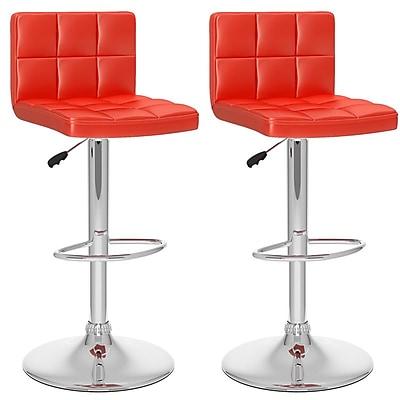 Sonax™ CorLiving™ Leatherette High Back Adjustable Barstools, Red