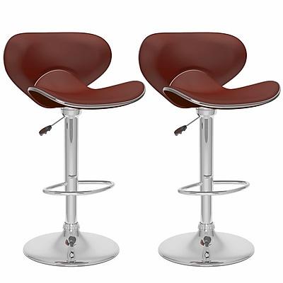 CorLiving™ Leatherette Curved Form Fitting Adjustable Barstools, Brown
