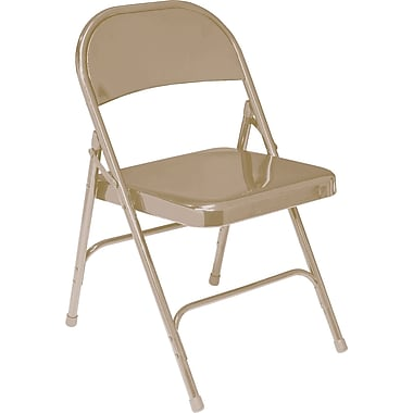 NPS® 50 Series All-Steel Armless Standard Folding Chair, Beige