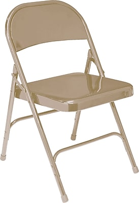 National Public Seating 50 Series All Steel Folding Chair, Beige 100/Pack (51/100)