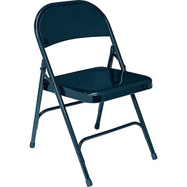 NPS® 50 Series All-Steel Armless Standard Folding Chair, Char-Blue