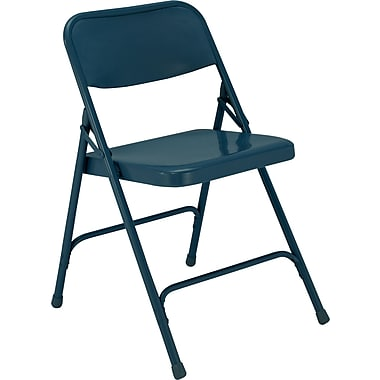 NPS® 200 Series All-Steel Armless Premium Folding Chair, Char-Blue