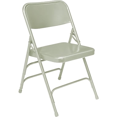 NPS® 300 Series All-Steel Triple Brace Armless Premium Big and Tall Folding Chair, Gray