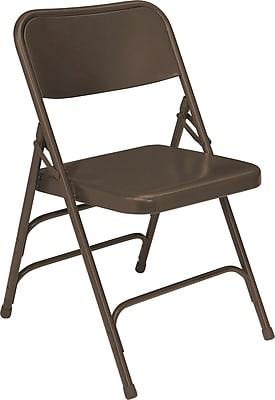 NPS #303 Premium All-Steel Brace Double Hinge Folding Chairs, Brown/Brown - 4 Pack
