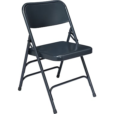NPS® 300 Series All-Steel Triple Brace Armless Premium Big and Tall Folding Chair, Char-Blue