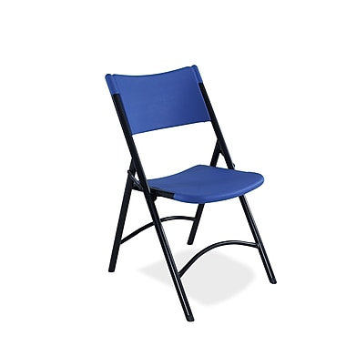 NPS® 600 Series Plastic Blow Molded Folding Chair, Blue/Black