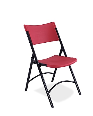 NPS® 600 Series Plastic Blow Molded Folding Chair, Red/Black