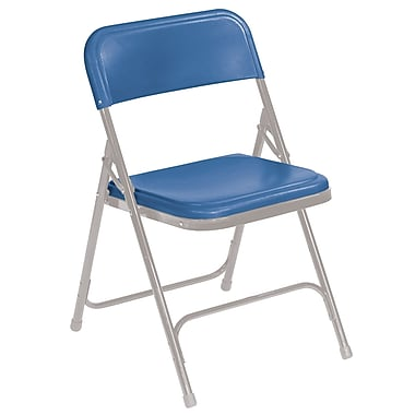 NPS® 800 Series Lightweight Plastic Armless Premium Folding Chair, Blue/Gray