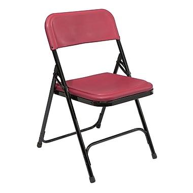 NPS® 800 Series Lightweight Plastic Armless Premium Folding Chair, Burgundy/Black