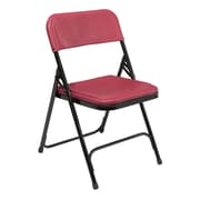 NPS® 800 Series Lightweight Plastic Armless Premium Folding Chair, Burgundy/Black