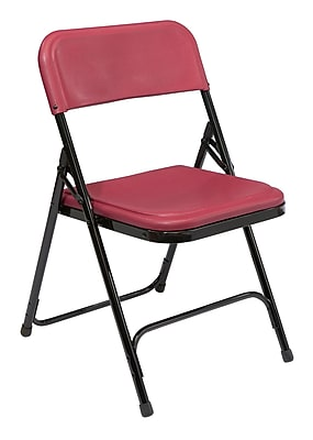 National Public Seating 800 Series Steel Frame Plastic Folding Chair, Burgundy 52/Pack (818/52)
