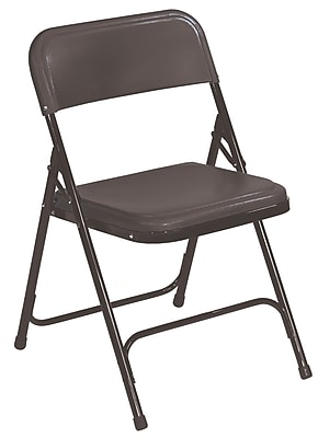 National Public Seating 800 Series Steel Frame Plastic Folding Chair, Black 52/Pack (810/52)